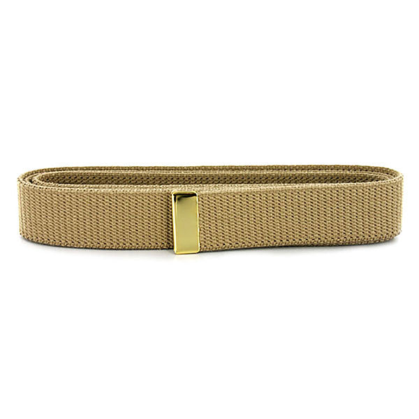 Navy Belt: Khaki Cotton with 24K Gold Tip - female