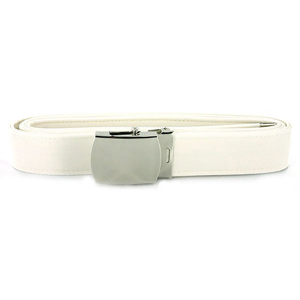 Navy Belt and Buckle: White CNT with Silver Mirror Buckle and Tip - male