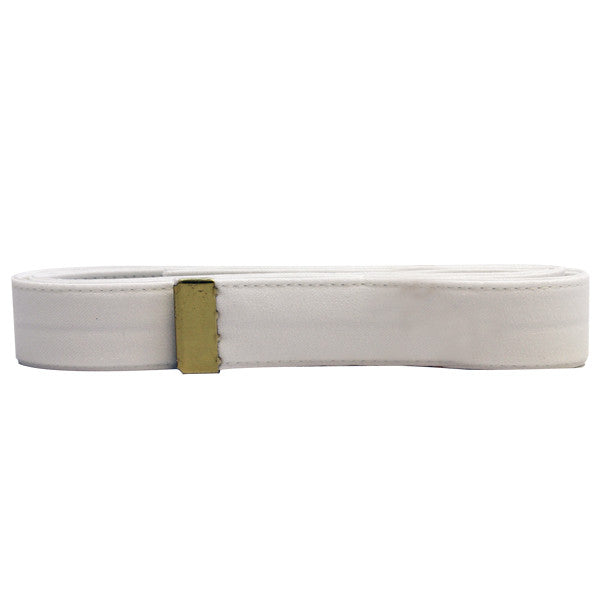 Navy Belt: White CNT with Brass Tip - male