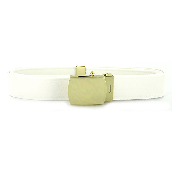 Navy Belt and Buckle: White CNT with 24k Gold Buckle and Tip - male
