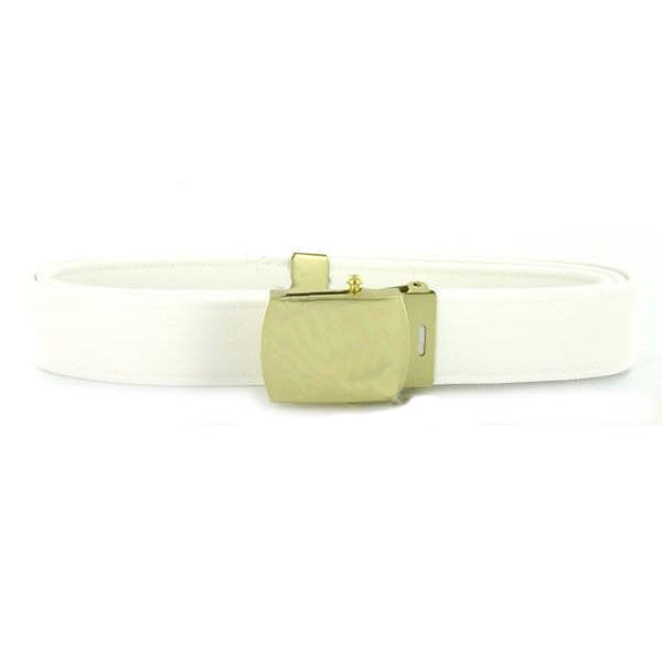 Navy Belt and Buckle: White CNT with Brass Buckle and Tip - male