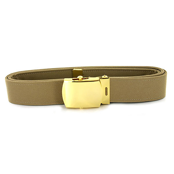 Navy Belt and Buckle: Khaki CNT with 24k Gold Buckle and Tip - male