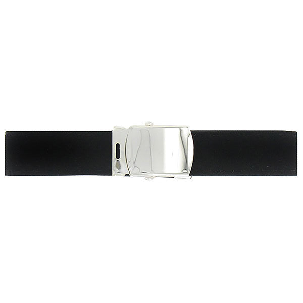 Navy Belt and Buckle: Black Poly-Wool Silver Mirror Buckle Tip - male
