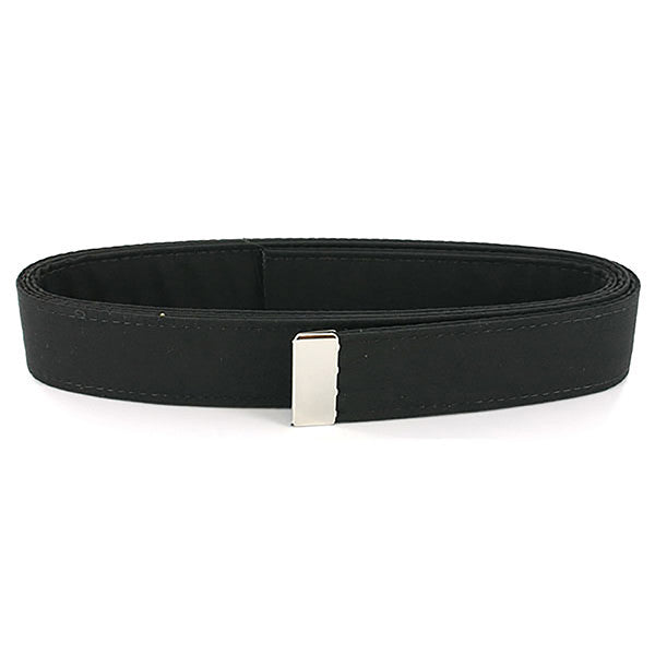 Navy Belt: Black Poly-Wool with Silver Mirror Tip - male