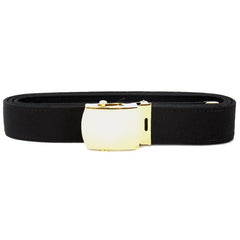 Navy Belt and Buckle: Black Poly-Wool 24k Gold Buckle and Tip - male