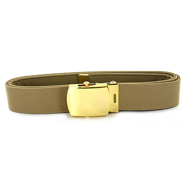 Navy Belt and Buckle: Khaki Poly-Wool 24k Gold Buckle and Tip - male