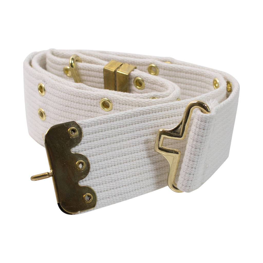 Pistol Belt: White Cotton with Brass Eyelets and Hardware