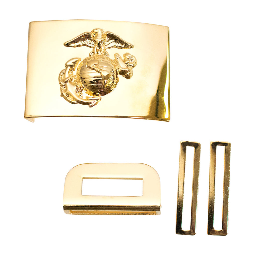 Marine Corps Belt Buckle: 24K Gold Plated Emblem