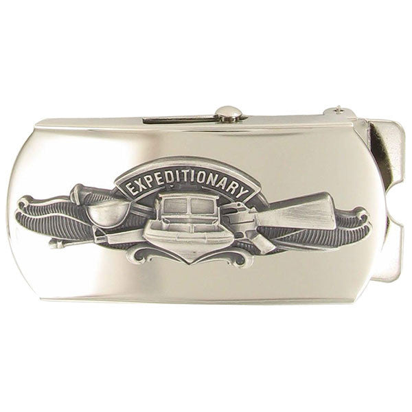 Navy Belt Buckle: Expeditionary Warfare Specialist - oxidized emblem