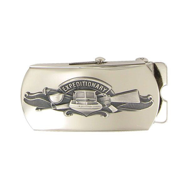 Navy Belt Buckle: Expeditionary Warfare Specialist - mirror finish