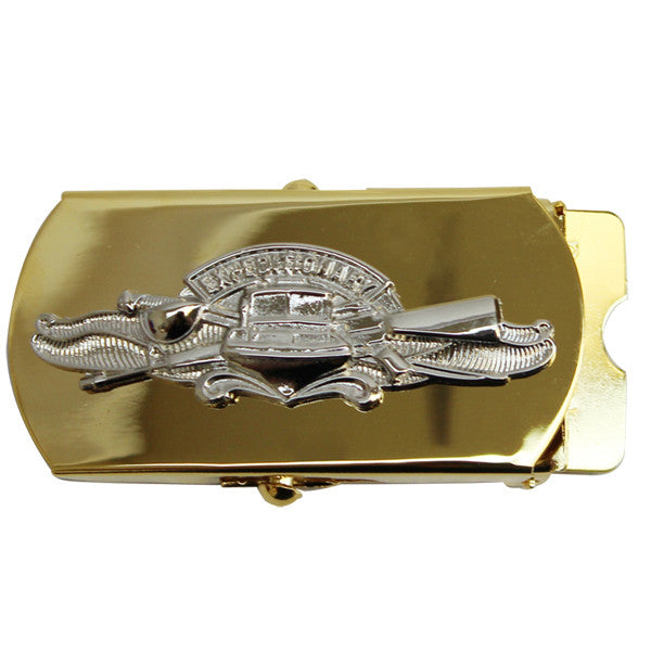 Navy Belt Buckle: Expeditionary Warfare Specialist CPO - gold and silver