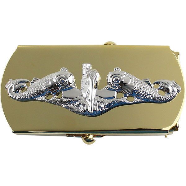 Navy Belt Buckle: Submarine for Chief Petty Officer - silver on gold