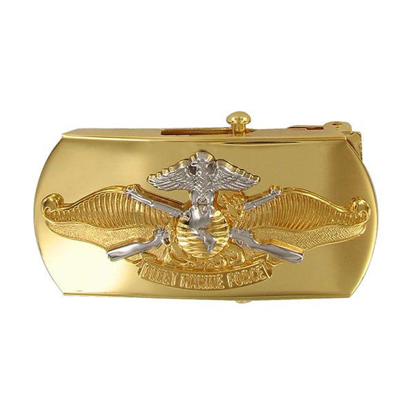 Navy Belt Buckle: Fleet Marine Force Officer - emblem on gold