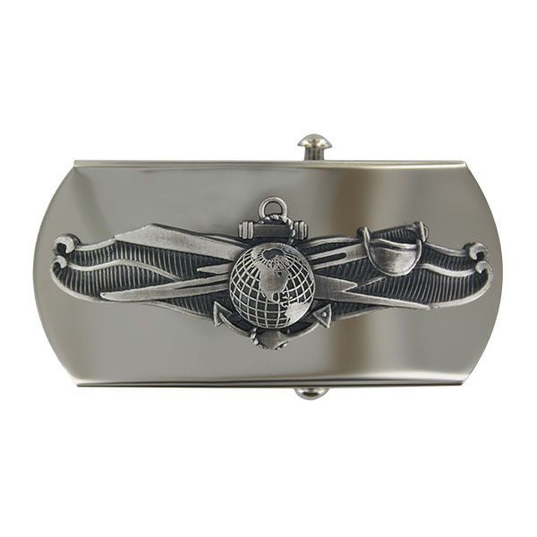 Navy Belt Buckle: Enlisted Information Dominance - silver oxidized emblem