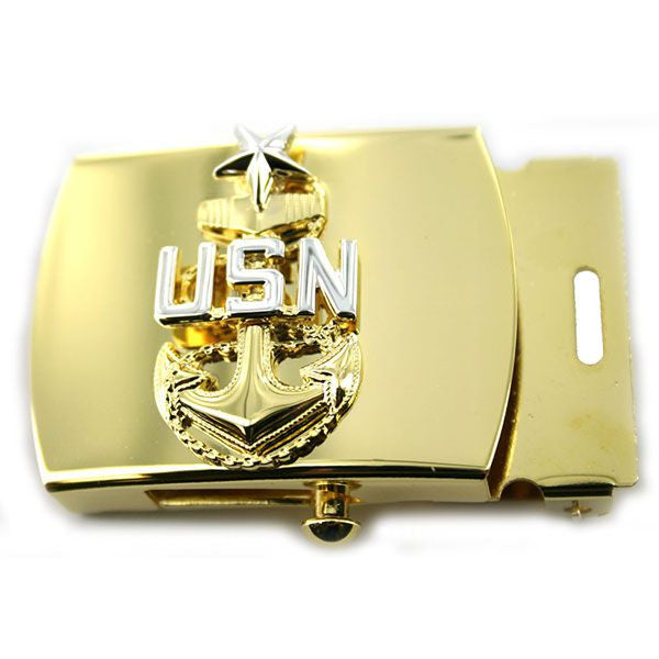 Navy Belt Buckle: E8 Chief Petty Officer: Senior - gold
