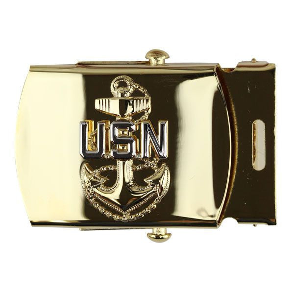 Navy Belt Buckle: E7 Chief Petty Officer - gold
