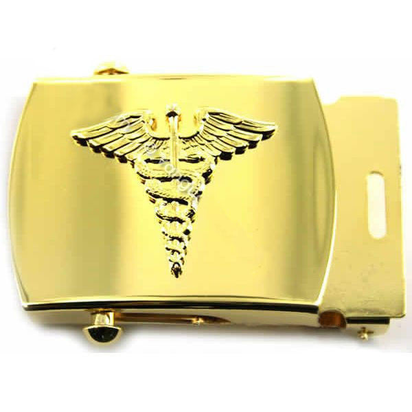 Navy Belt Buckle: Gold Caduceus - male