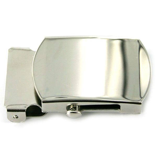 Navy Belt Buckle: Silver Mirror - male
