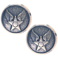 Civil Air Patrol Button: WAF Hap Arnold - 20 ligne silver oxidized