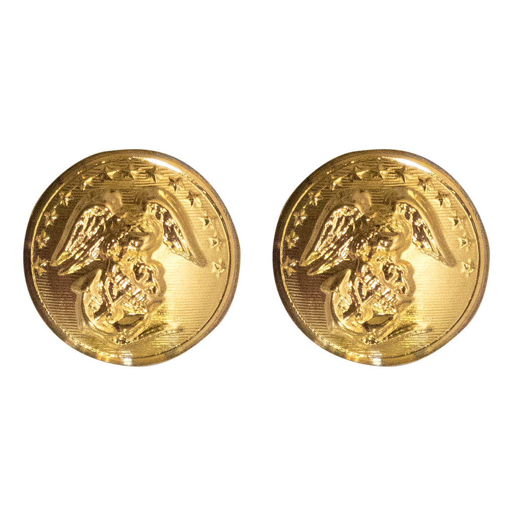 Marine Corps Button: 27 Ligne - 24K Gold Plated