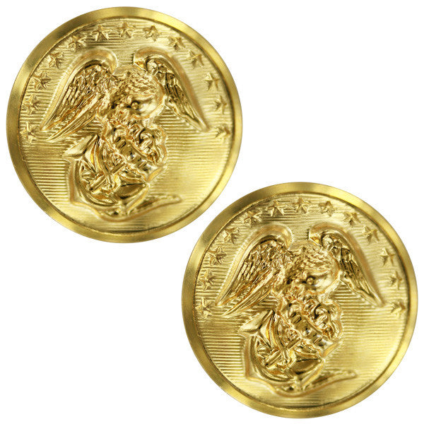 Marine Corps Button: 40 Ligne - 24K Gold Plated