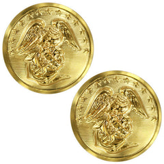 Marine Corps Button: 27 Ligne Screw Back - 24K Gold Plated