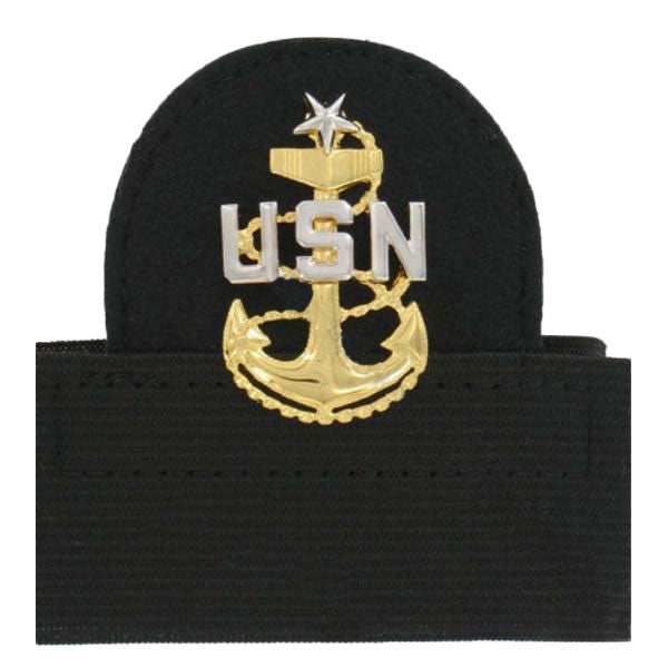 Navy Cap Device: E8 Chief Petty Officer: Senior - mounted
