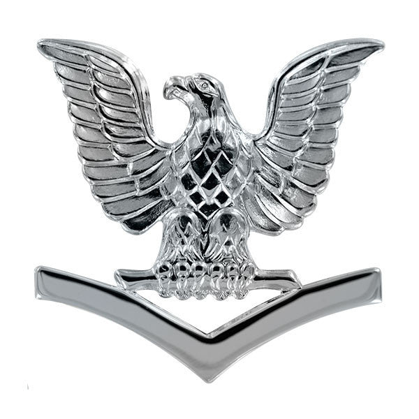 Navy Cap Device: E4 Petty Officer Third Class - silver