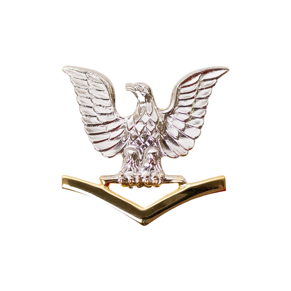 Navy Cap Device: E4 Good Conduct - silver eagle with gold chevrons