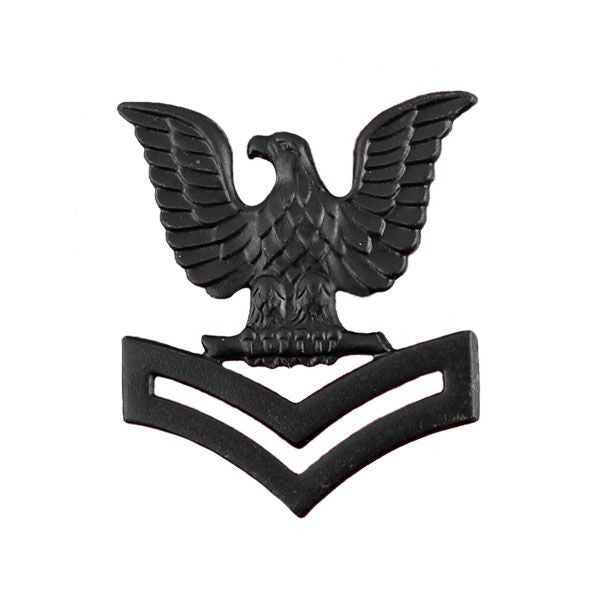 Navy Cap Device: E5 Petty Officer Second Class - black metal