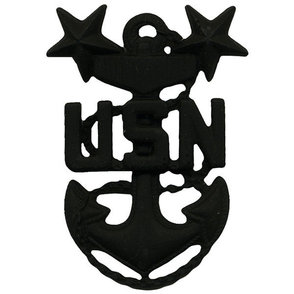 Navy Cap Device: E9 Chief Petty Officer: Master - black metal