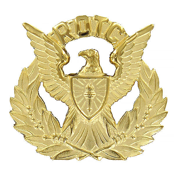 Army ROTC Cap Device: Regulation Officer Wreath - gold with eagle