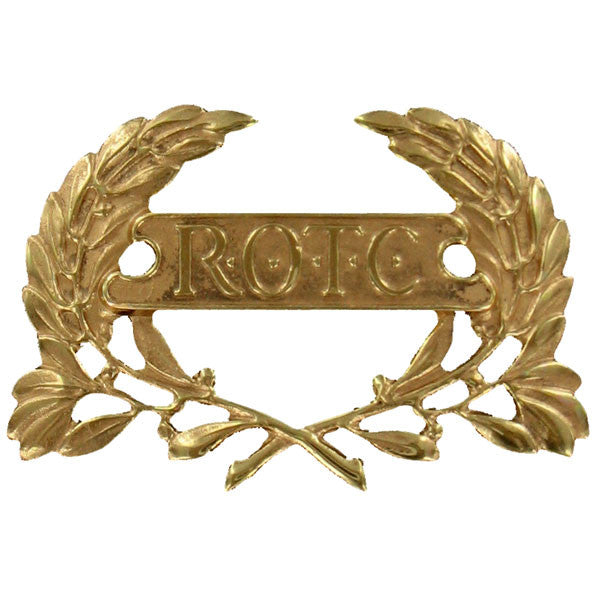 Army ROTC Cap Device: Wreath with ROTC Letters in Panel - gold plated