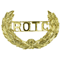 Army ROTC Cap Device: Wreath with ROTC Letters Cut-Out - screw back
