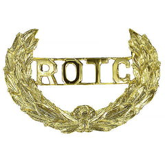 Army ROTC Cap Device: Wreath with ROTC Letters Cut-Out - clutch back