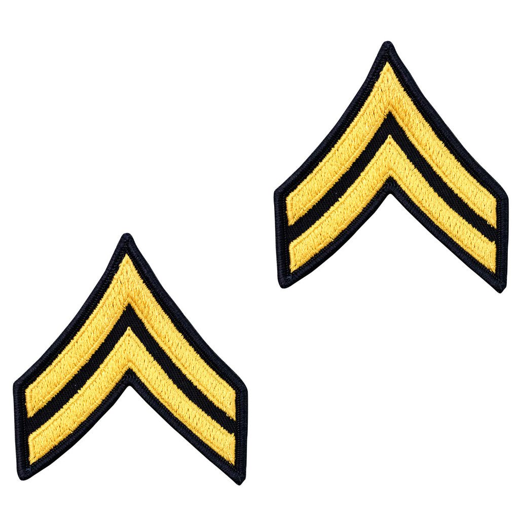 Army Chevron: Corporal - gold embroidered on blue, male