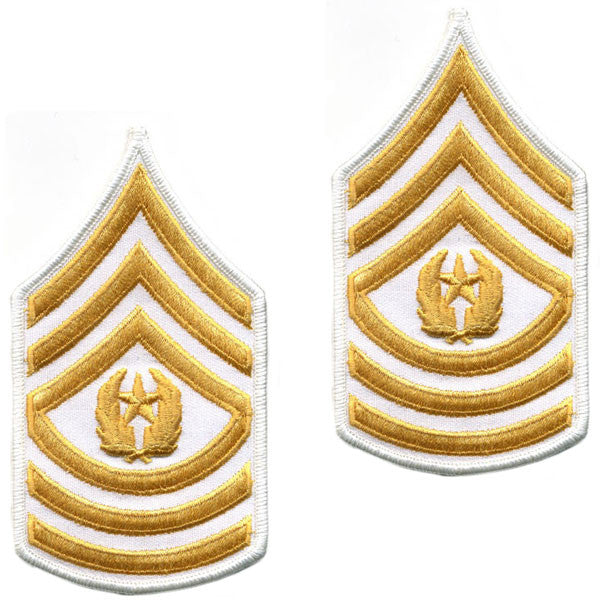 Army Chevron: Command Sergeant Major - gold embroidered on white, female