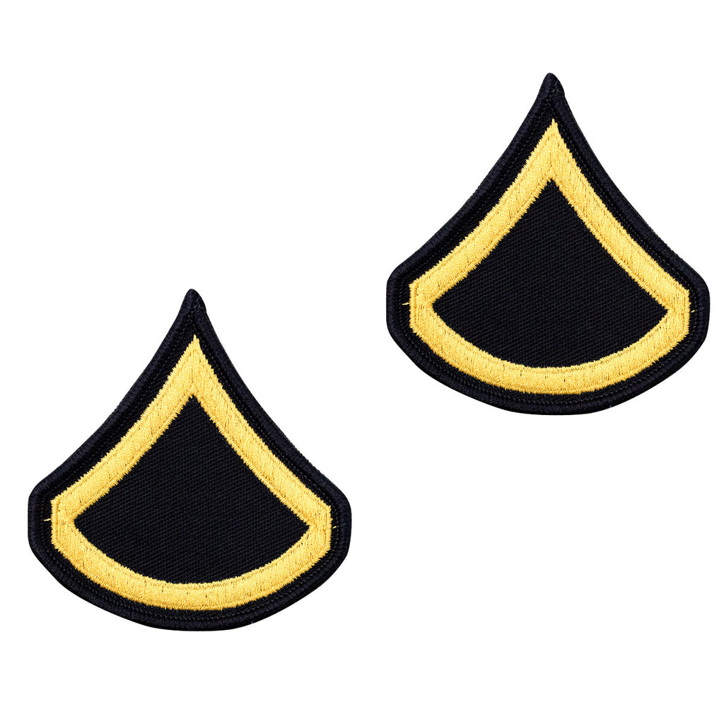 Army Chevron: Private First Class - gold embroidered on blue, female