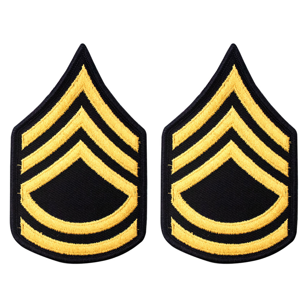 Army Chevron: Sergeant First Class - gold embroidered on blue, female