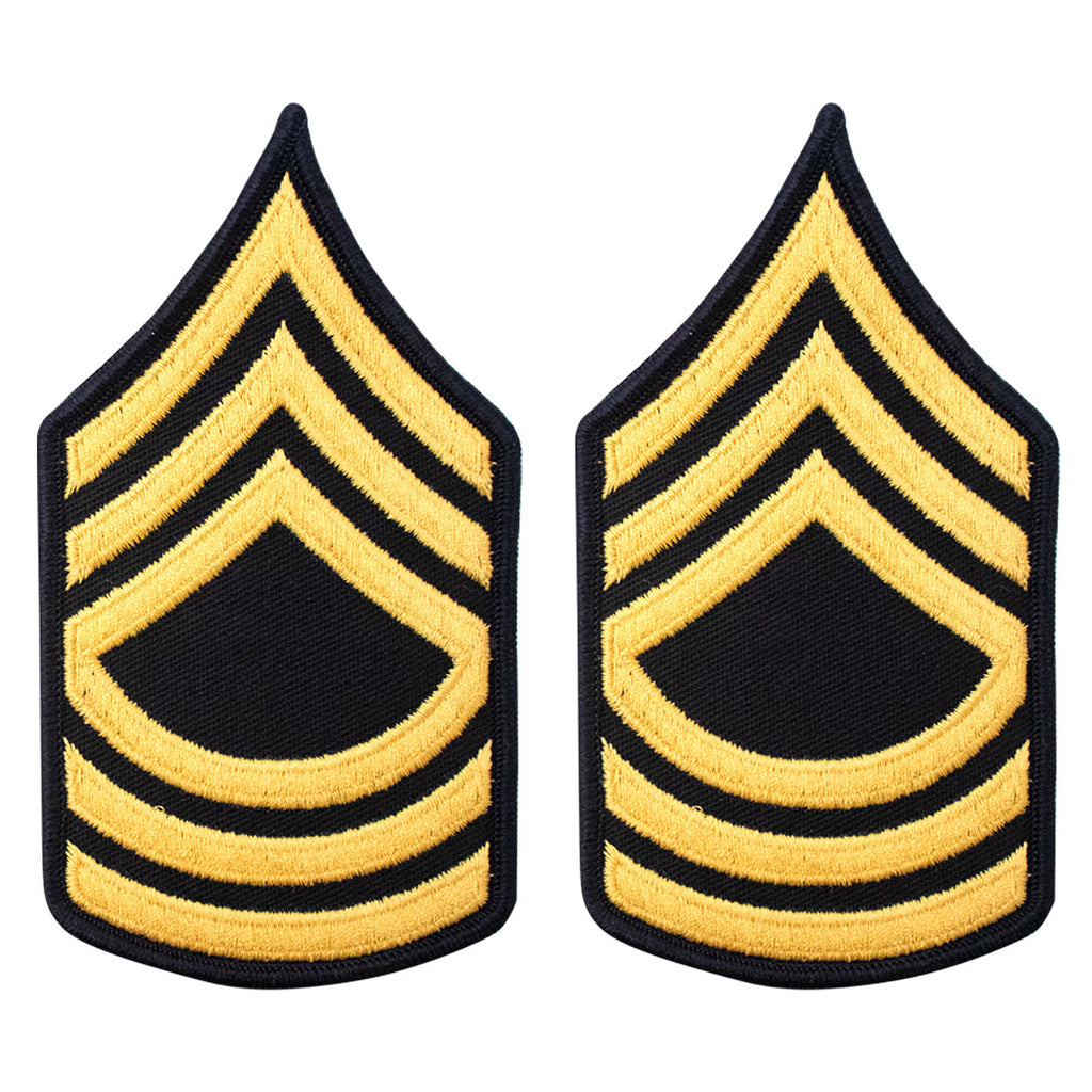 Army Chevron: Master Sergeant - gold embroidered on blue, female