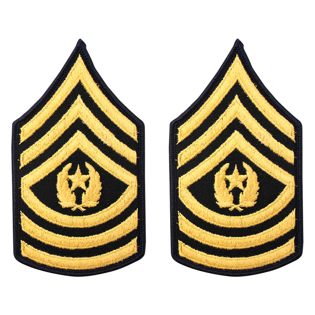Army Chevron: Female Command Sergeant Major - gold embroidered on blue