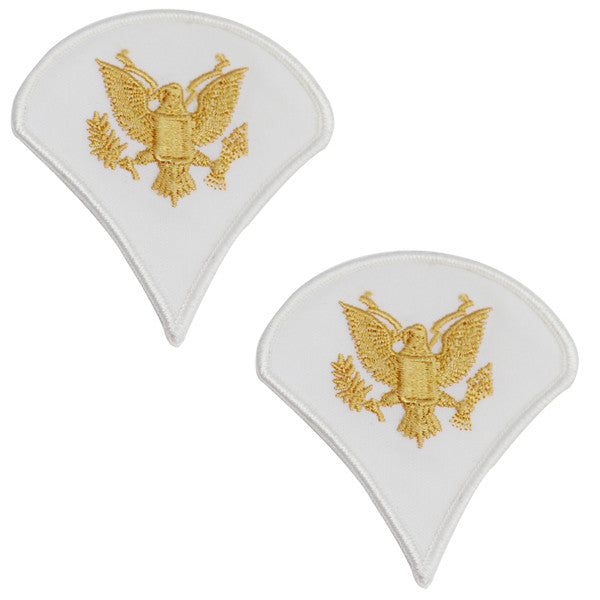 Army Chevron: Specialist 4 - gold embroidered on white, small