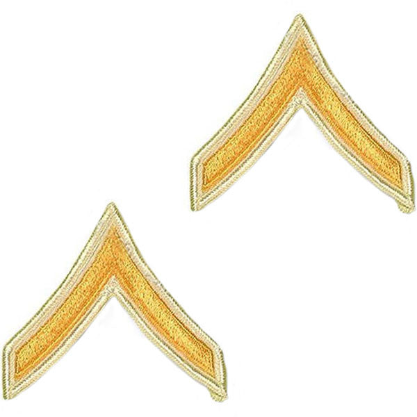 Army Chevron: Private - gold embroidered on white, small