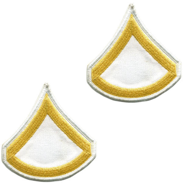 Army Chevron: Private First Class - gold embroidered on white, male