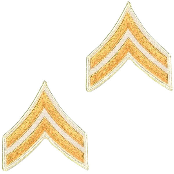 Army Chevron: Corporal - gold embroidered on white, small