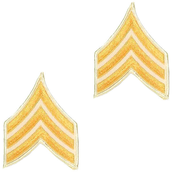 Army Chevron: Sergeant - gold embroidered on white, small