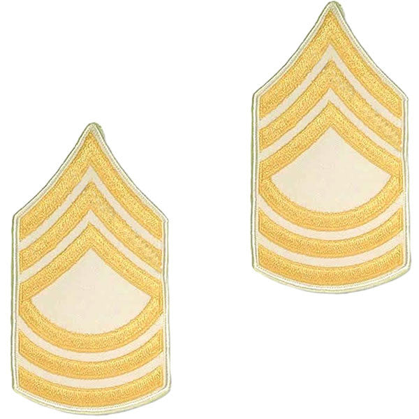 Army Chevron: Master Sergeant - gold embroidered on white, small