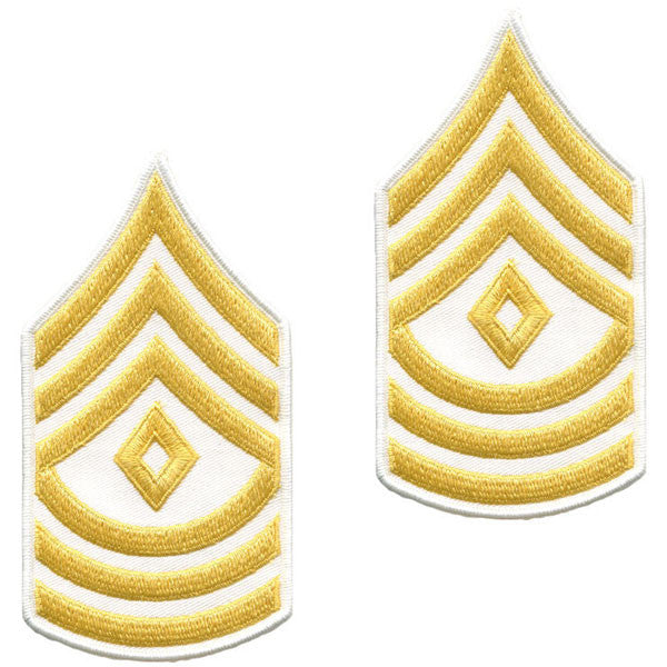 Army Chevron: First Sergeant - gold embroidered on white, male