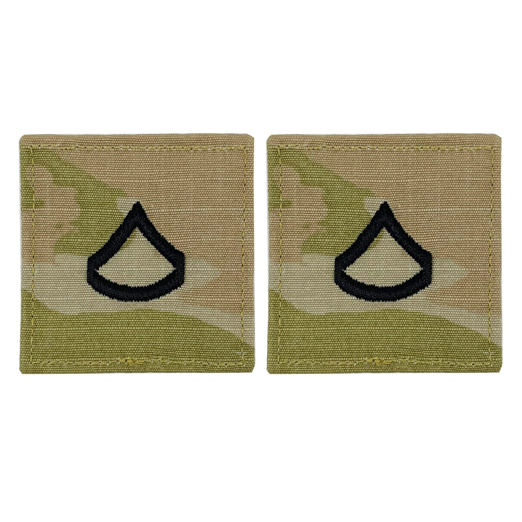 Army embroidered OCP with hook rank insignia: Private First Class