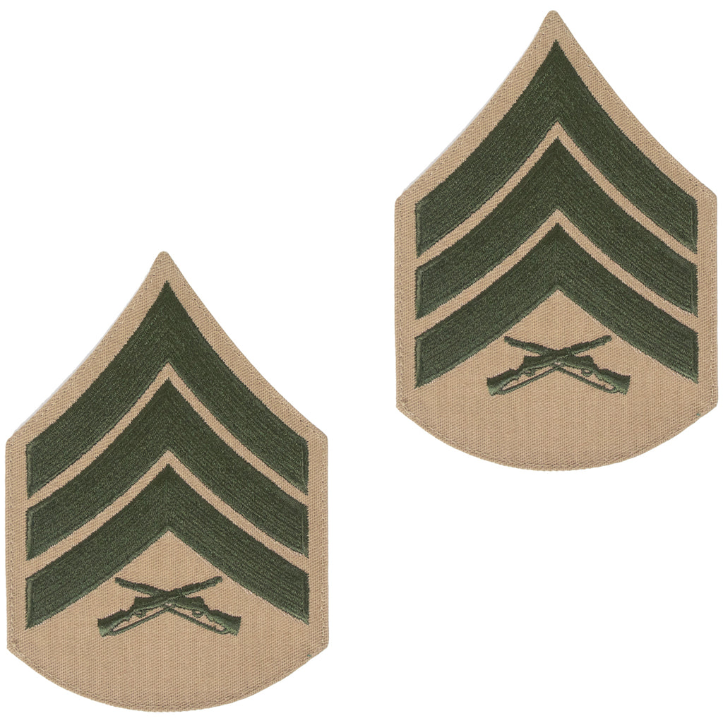 Marine Corps Chevron: Sergeant - green embroidered on khaki, male